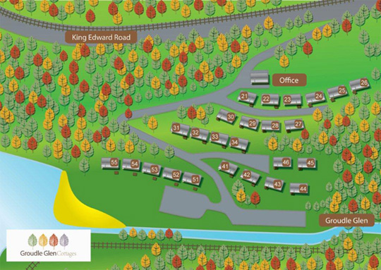 Groudle Cottages site map